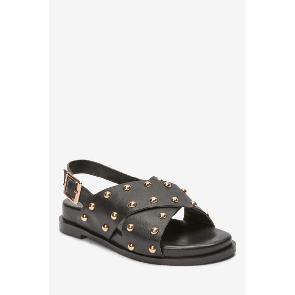 Чорні  сандалі з перехресними лямками і заклепками 489-309