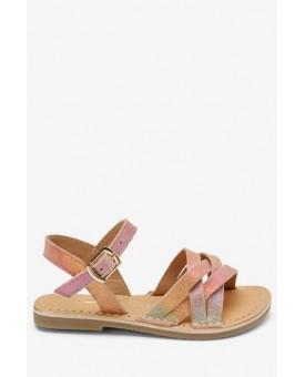 Рожево-золотистий шкіряні плетені сандалі 620-418